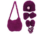 Hand Knit Magenta Purse with Beanie, Booties and Mittens