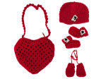 Red Heart-Shaped Bag with Beanie, Mittens and Booties