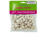 Round wood craft beads