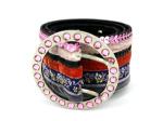 multi fabric leather belt