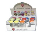 2 oz. Glass Spice Jar with Colored Locking Lid Countertop Display