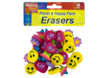 Flower and happy face erasers