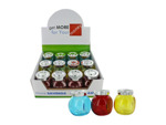 Colored Glass Jars with Twist Lids Countertop Display