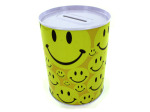 Tin bank with happy face design