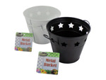 metal bucket with stars assorted colors