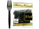 Heavy Duty Black Plastic Forks Set