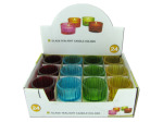 Glass votive candle holders, assorted colors