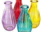 Ribbed Colored Glass Bottle Vase