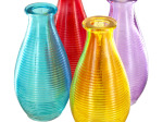 Ribbed Colored Glass Vase