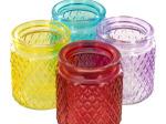 Diamond Texture Glass Jar Vase