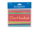"""100 Hundred"" striped party invitations, pack of 8"