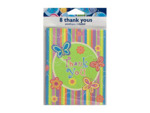"Colorful butterfly stripe ""Thank You"" notes, set of 8"