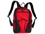 poly canvas backpack red with black trim/zipper