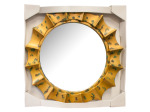 Round Sunburst Mirror with Gold & Green Frame