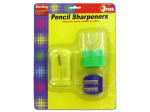 3 Pack pencil sharpeners.