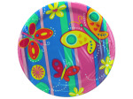 8 count bright butterflies paper plates