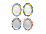 Melamine oval plate, four assorted designs