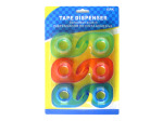 6 pack tape dispenser, assorted colors
