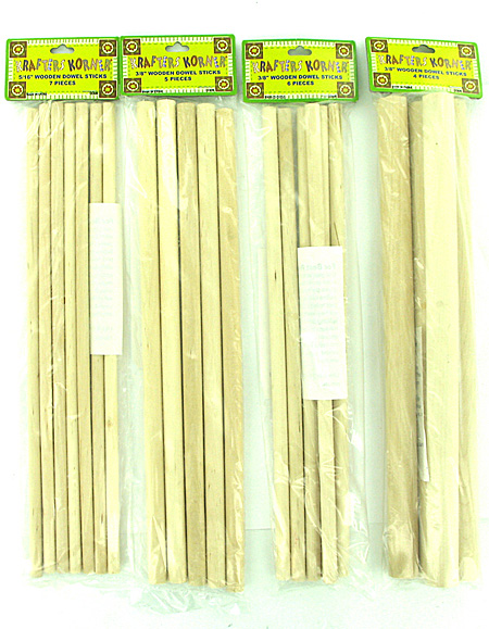 asst wood dowel sticks