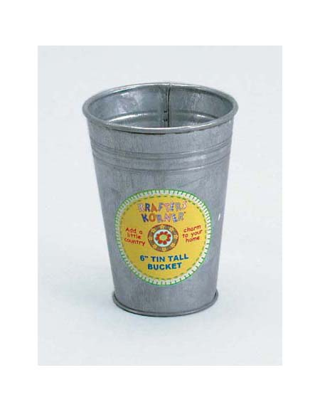 "6"" tall tin bucket"